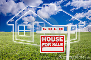 © Feverpitched | Dreamstime.com - Sold For Sale Sign Over Clouds, Grass And House Photo